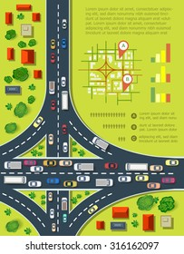 Road infographics with highways with lots of cars. Map of traffic congestion and urban transport. Top view of the city with houses