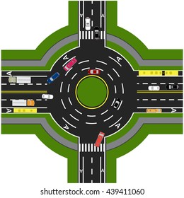 Road infographics. Road interchange, roundabouts. It is showing the movement of cars. Sidewalks and crossings. Vector illustration