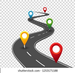 Road infographics. Winding road to success with pin pointers. Business journey way. Progress vector concept
