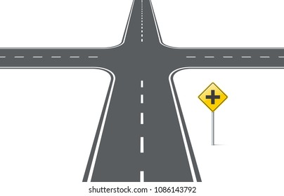 Road intersection with traffic sign. Element for design