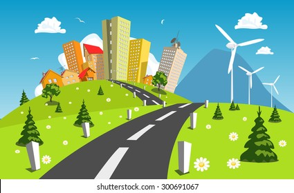 Road into the city around wind power station. Vector art