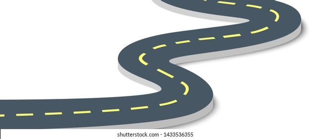 Road isolated on white background. Vector illustration.