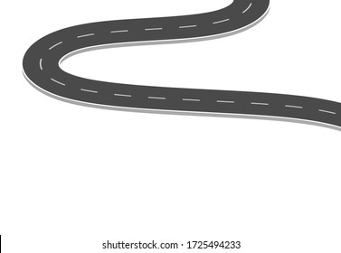 Road journey to the future. Asphalt street isolated on white background. Symbols Way to the goal of the end point. Path mean successful business planning Suitable for advertising and presentstation