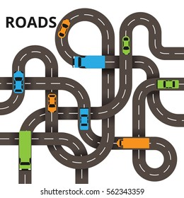 Road junction concept, a lot of roads with traffic jam isolated in white background. Colorful cars and trucks.