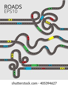 Road junction set on the white background. Spaghetti junction road traffic with convoluted intertwined roads and colorful cars