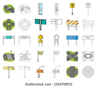 Road junctions and signs cartoon,outline icons in set collection for design.Pedestrian crossings and signs vector symbol stock web illustration.