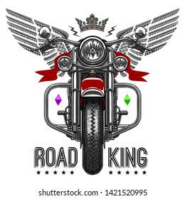 road king chopper vector motorcycle illustration wallpaper poster icon logo tee shirt graphic textile print design