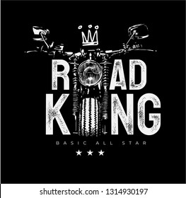 road king slogan with motorcycle silhouette illustration