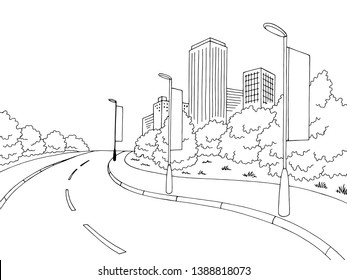 Road lampposts with advertisement graphic black white city landscape sketch illustration vector