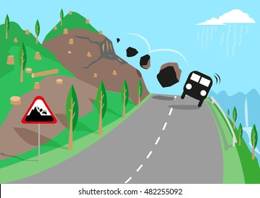 Road Landslide due to deforestation, unstable soil or quakes causes accidents to travelers. Editable Clip Art.