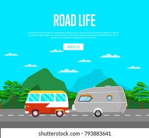 Road life poster with van and camping trailer on highway. Side view car RV trailer caravan on nature background. Tourist motorhome for country traveling, outdoor family vacation vector illustration.