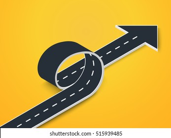 Road Loop with Arrow Isometric View. Winding 3D Road on a Colorful Background. Vector EPS 10