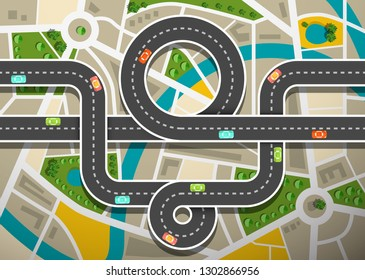 Road Map Aerial View with Cars on Highway and City Streets