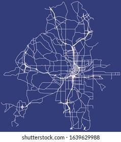 Road map of Atlanta, Georgia, United States