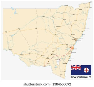 Road map of the Australian state New South Wales map with flag