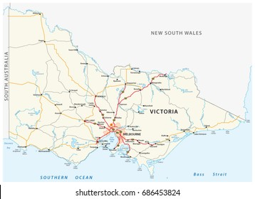 Road map of the australian state victoria