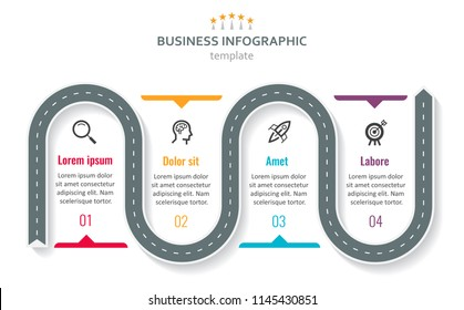 Road map business timeline with 4 options, parts, steps or processes. Circular corporate timeline infograph elements. Modern vector info graphic design.