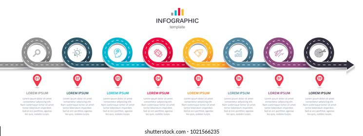 Road map business timeline with 8  options, parts, steps or processes. Circular corporate timeline infograph elements. Modern vector info graphic design.