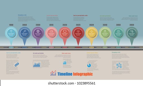 Road map business timeline infographic with 10 step pins designed for abstract background elements diagram planning process web pages digital technology data presentation chart. Vector illustration