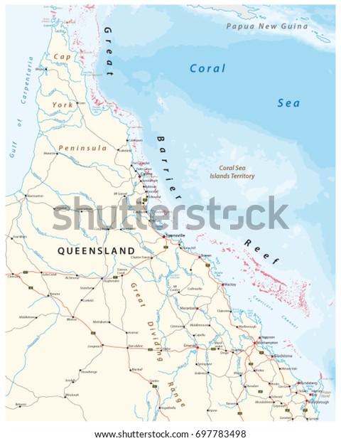 Road Map Cap York Peninsula Great Stock Vector Royalty Free