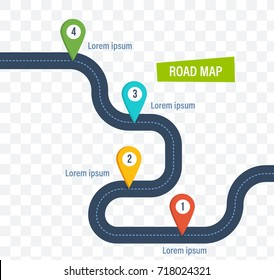 Road map with colorful bright marks markers and road, with a paved route. Roadmap template design on transparent background. Vector illustration isolated.