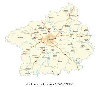 road map of czech region Stredocesky kraj (Central Bohemian)