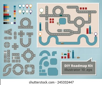 Road Map Design Elements, Set of Illustrations. Create your own map using these comic style design elements for a traffic road map with cars, houses, river, boat and orientation signs.
