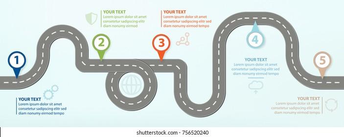 Road Map, Flat Design Vector Illustration Infographic elements showing steps in business progress