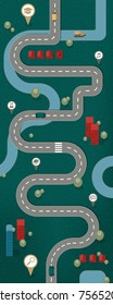 Road Map, Flat Design Vector Illustration Education Career Path Concept, with landscape, houses and traffic on the street