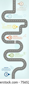 Road Map, Flat Design Vector Illustration Infographic elements showing steps in business progress