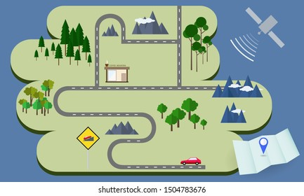 Road map and gps navigation in flat design style, vector illustration.