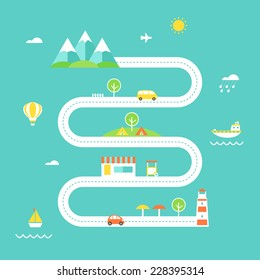 Road Map Illustration. Travel and Recreation Concept. Flat Design