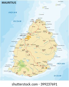 road map of the island State Mauritius in the Indian ocean