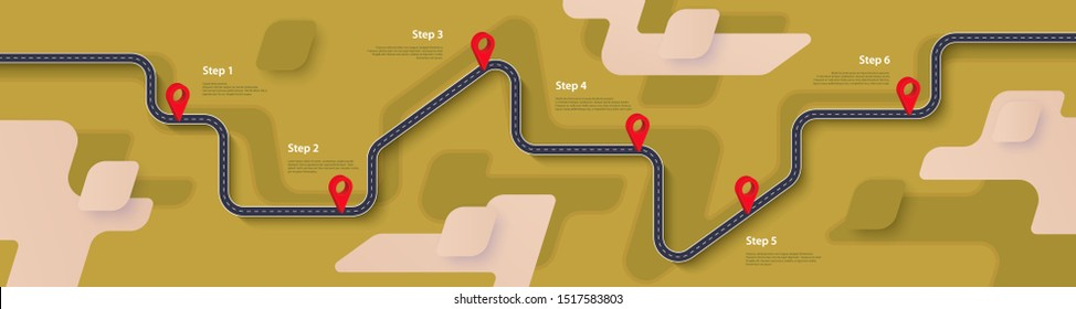 Road map and journey route infographics template. Winding road timeline illustration. Сountryside theme. Flat vector illustration. Eps 10