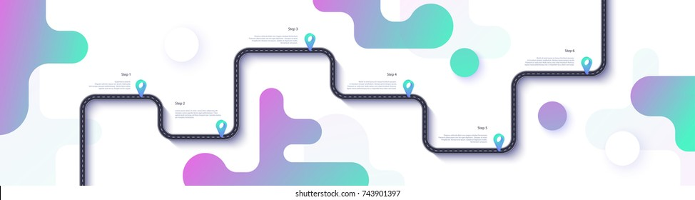 Road map and journey route infographics template. Winding road timeline illustration. Flat vector illustration. Eps 10