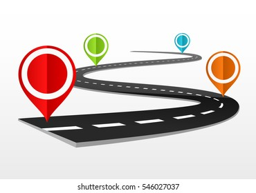 Road map with markers