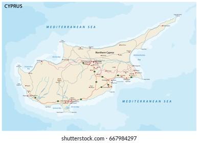 Road map of mediterranean island cyprus