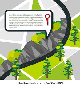 Road map with road and mountains illustration