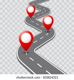 Road map with pathway route pin icon on the way track. Vector roadmap template design on transparent background.