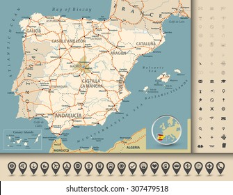 Road map of Spain with highways, railroads, cities, rivers and navigation icons/Road map of Spain.
