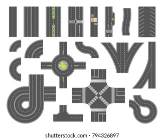 Road map toolkit - set of modern vector city elements isolated on white background for creating your own images. Crossroads, pedestrian zones, traffic circle, car parking, twist. Top view position