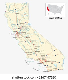 road map of the US American State of California.