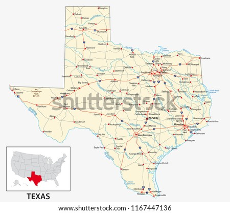 Road Map US American State Texas Stock Vector (Royalty Free ...