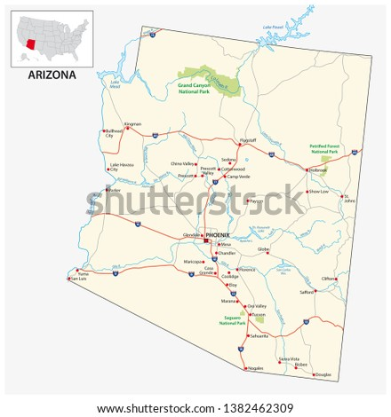 Road Map US American State Arizona Stock Vector (Royalty ...