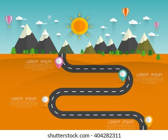 Road with markers, vector infographics template. Winding road in green field and mountains. Rural street flat style .Landscape background Vector illustration