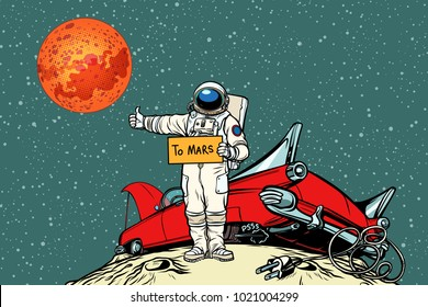 The road to Mars. car broke down in space, astronaut hitchhiker. Pop art retro vector illustration comic cartoon hand drawn vector