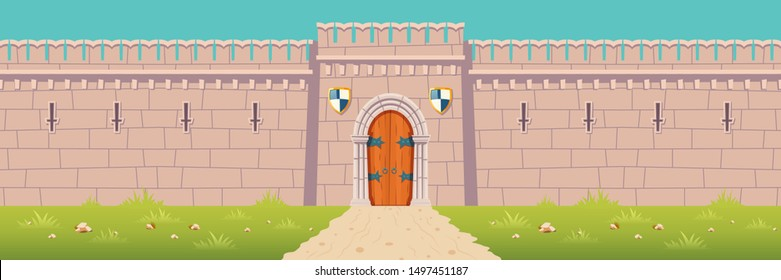 Road to medieval city or town fortress, kings castle, fairytale citadel, fantasy stronghold stone walls with arched wooden gates and heraldic shields under closed doorway cartoon vector illustration