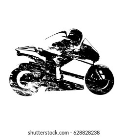 Road motorcycle racer, scratched vector silhouette
