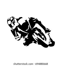 Road motorcycle rider, abstract vector silhouette, motor sport logo