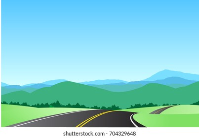 road to mountain vector drawn